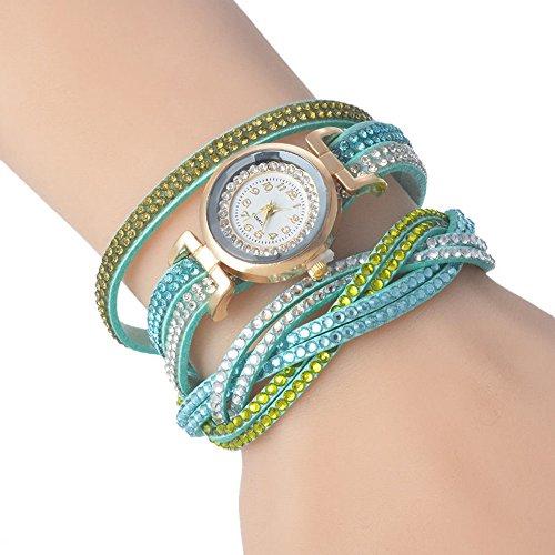 SSITG Azurblau Armbanduhr Strass Quarzuhr Analog Wickelarmband 39cm