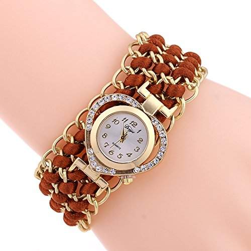 SSITG Damen geflochtenen Seil Infinity Love Kunstleder Band Strass Armreifuhr Uhr Geschenk Gift Watch