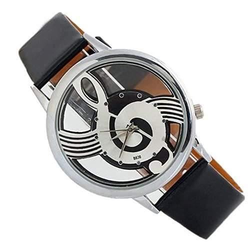 SSITG Armbanduhr Musik Noten Schluessel Violinschluessel Leder Geschenk Gift Armbanduhr watch