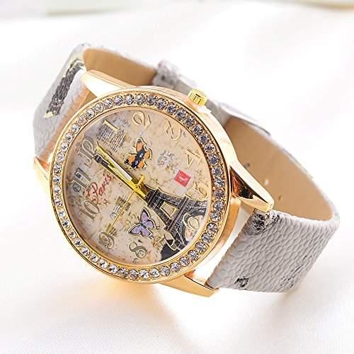 SSITG design Paris Stil Turm Schmetterling PU Leder vintage Uhr Armbanduhr Geschenk Gift Watch