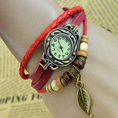 SSITG Leder Armbanduhr Vintage Retro Damenarmbanduhr Spangenuhr 4