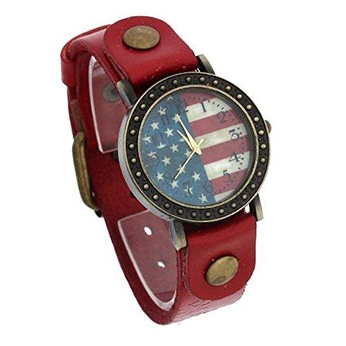 SSITG Uhr Retro Armbanduhr Quarzuhr Flagge Muster Unisex PU Rot Geschenk Gift Watch