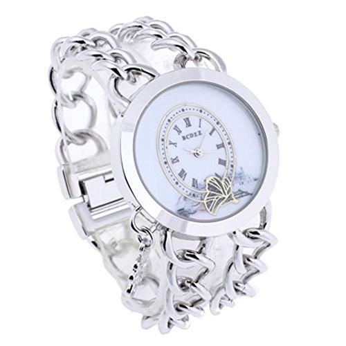 SSITG Damenuhr Armbanduhren Quarzuhr Uhr Watch Silber Galvanisation Zwei Reihe Kette