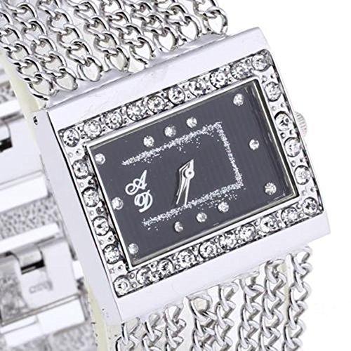 SSITG Damenuhr Armbanduhren Quarzuhr Uhr Silber Galvanisation mit Strass Modisch