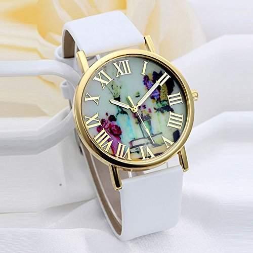 SSITG Art und Vasen Dial Leder Band Quartz Geschenk Gift Watch