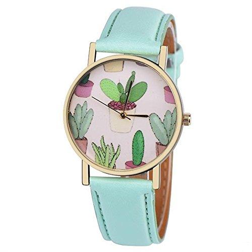 SSITG Damen Quarz Uhr Analog Kaktus Partten Kunstleder Ehering Freizeit Armbanduhren Wrist Watch Geschenk Gift