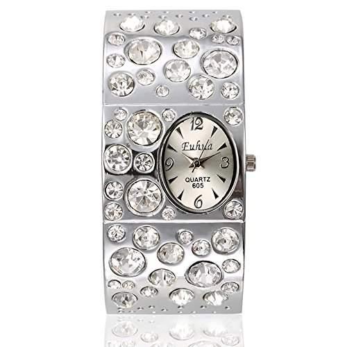 SSITG Strass Armbanduhr Kristall Armband Spangenuhr Armbanduhr Quarz Uhr