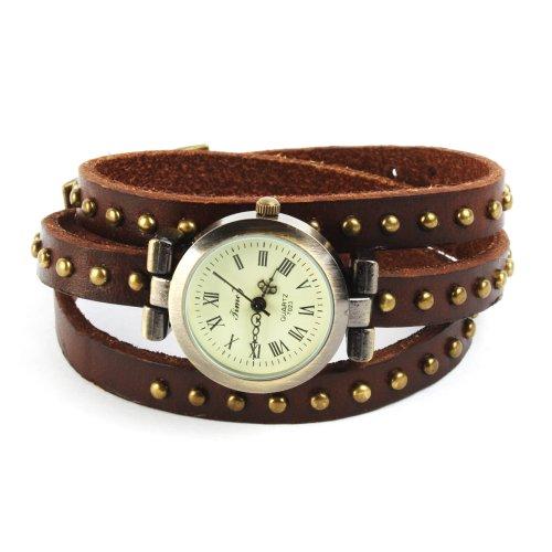 SSITG Uhr Damen Leder Vintage Designer Retro Look Armbanduhr Trend Mode Wickeluhr Armband watch Geschenk Gift 003