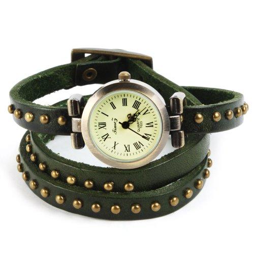 SSITG Uhr Damen Leder Vintage Designer Retro Look Armbanduhr Trend Mode Wickeluhr Armband watch Geschenk Gift 009
