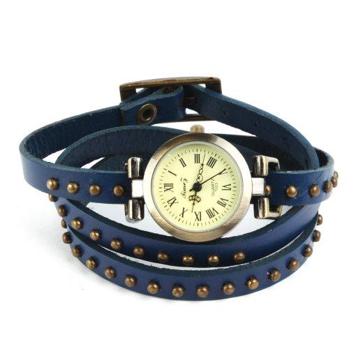 SSITG Uhr Damen Leder Vintage Designer Retro Look Armbanduhr Trend Mode Wickeluhr Armband watch Geschenk Gift 005