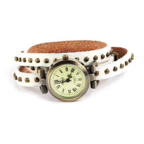 SSITG Uhr Damen Leder Vintage Designer Retro Look Armbanduhr Trend Mode Wickeluhr Armband watch Geschenk Gift 008