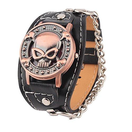 SSITG Gothic Styple Skull Punk Leder Band Uhren Herren Schwarz Armbanduhr