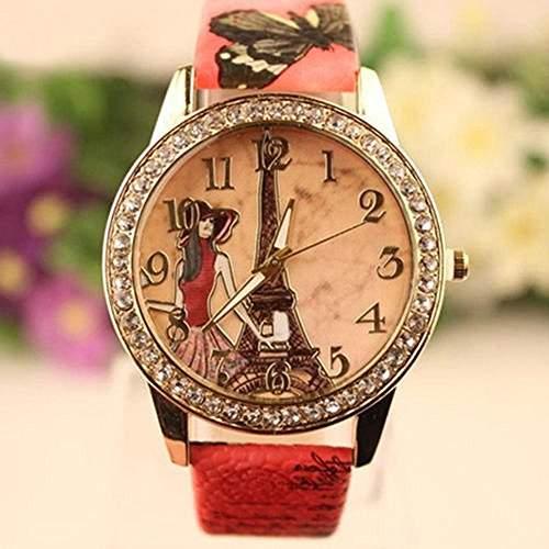 SSITG Leder Armbanduhr Strass Uhr Damen Quarzuhr Eiffelturm Sportuhr Watch Geschenk Gift