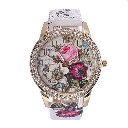SSITG Rose Blume Frauen Maedchen Diamant Leder Armband Quarz Handgelenk Uhr Geschenk Gift Watch
