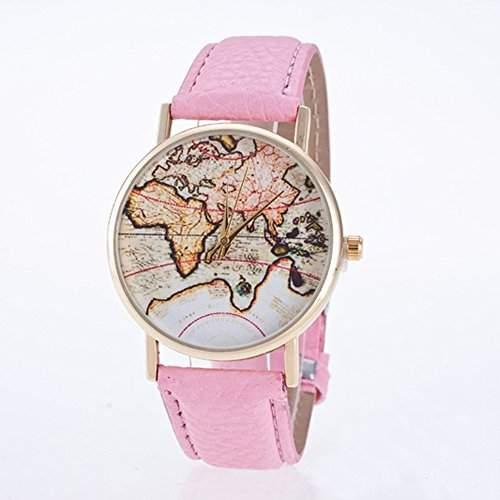 SSITG Mode Quarz Analog Uhr Armbanduhr mit Lederband Weltkarte Muster