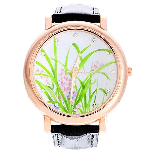 SSITG Schwarz Narzissen Armbanduhr Quarzuhr Analog Lederband Strass 24cm Watch Geschenk Gift