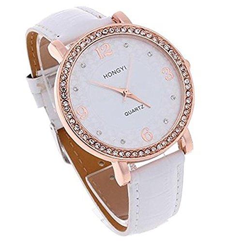 SSITG Damen Uhr Quarzuhr Armbanduhr Damenarmbanduhr Sportuhr PU mit Strass Watch Geschenk Gift