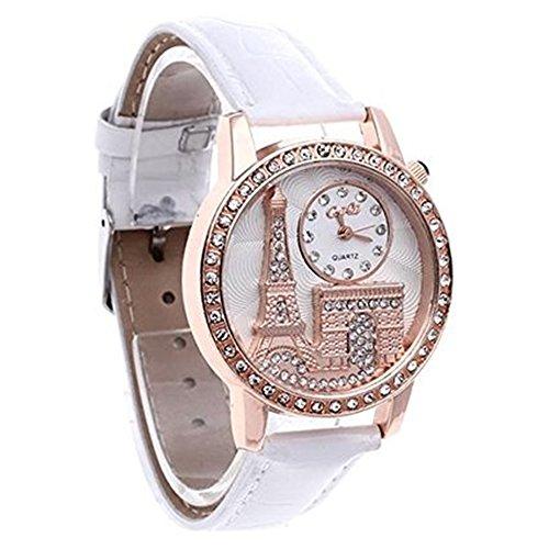SSITG Uhr Damen Quarzuhr Damenuhr Armbanduhr Wei mit Strass Turm Triumphbogen Watch Geschenk Gift