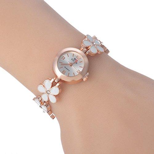 SSITG Rosegold Armbanduhr Armreif Edelstahl Blumen Modeschmuck 20cm