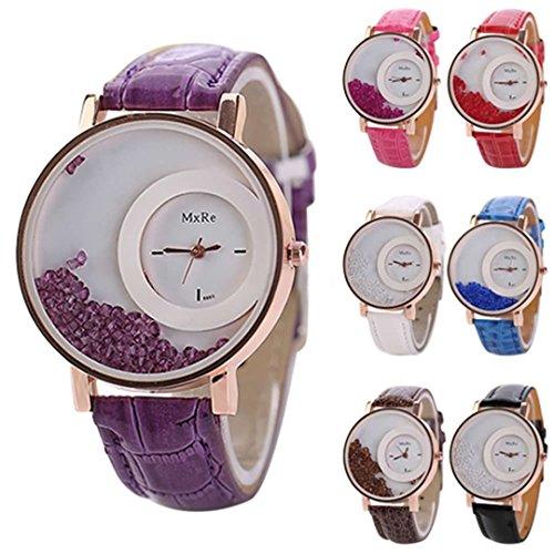 SSITG Steinchen Armbanduhr Vintage Lederarmbanduhr Leder Uhr Armband Rosegold lila