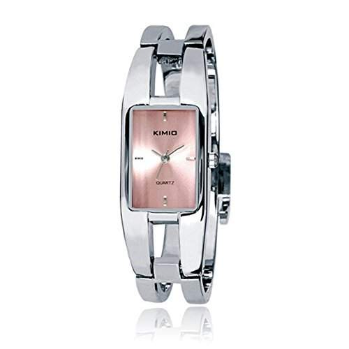 SSITG Uhr Armbanduhr Damen Edelstahl Silber Quarz Spangenuhr Armreif Wrist Watch montre de S06450