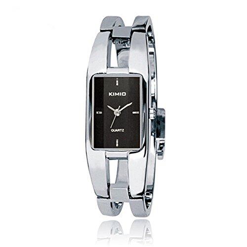 SSITG Uhr Armbanduhr Damen Edelstahl Silber Quarz Spangenuhr Armreif Wrist Watch montre de S06448