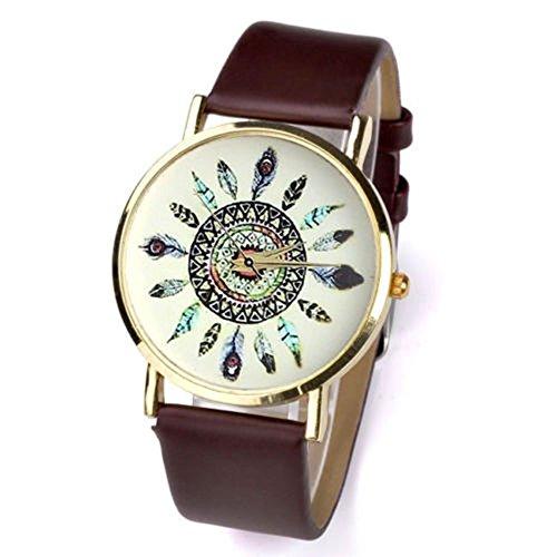 SSITG Uhr Analog pu leder Quartzuhr Armbanduhr mit Feder Xmas Gift Geschenk