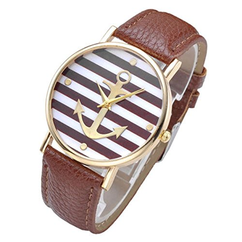 SSITG Damen Uhr Vintage Damen unisex Armbanduhr Anker Quarzuhr Lederarmband Uhr Analog Anker A4
