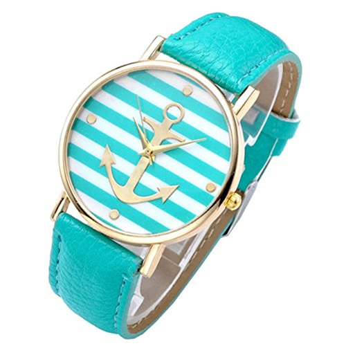 SSITG Vintage Damen unisex Armbanduhr Anker Quarzuhr Lederarmband Uhr Analog Anker A7