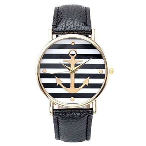 SSITG Damen Uhr Vintage Damen unisex Armbanduhr Anker Quarzuhr Lederarmband Uhr Analog Anker A1