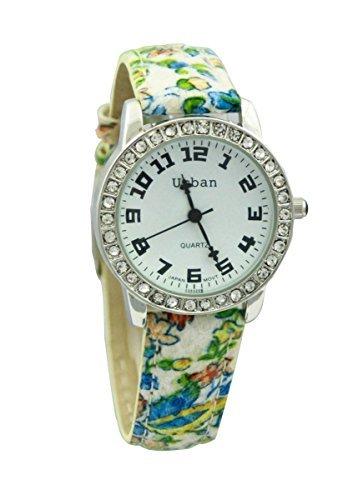 Neue blau gruen Blumenmuster PU Leder Armband analogen versilbert zusaetzlichen Akku