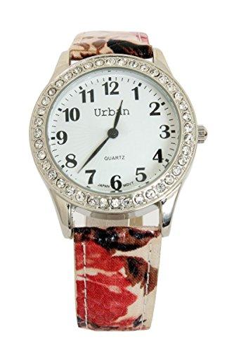 Damen Diamante Gesicht rot Floral PU Lederarmband Watch silbernen vergoldeten einen zusaetzlichen Akku