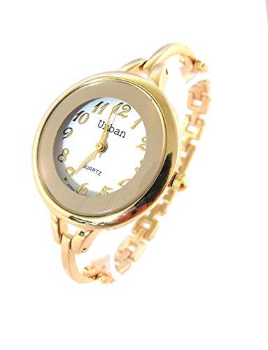 NEUE elegante Gold Wrist Watch japanische Bewegung Analog Quarz schnelle Schiff
