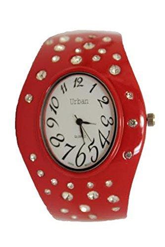 Urban Damen rot Enamled Diamante Armband Armband Armreif Watch Armreif Armbanduhr