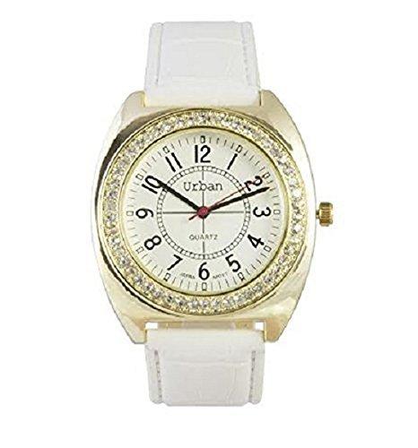 Neue Uhren Frauen s weisse PU Leder Gold plattiert grosse Zifferblatt Diamante Gesicht Quarz analoge weisse Lederriemen