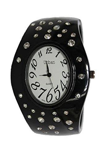 Urban Damen Schwarz Enamled Diamante Armband Armband Armreif Watch Armreif Armbanduhr