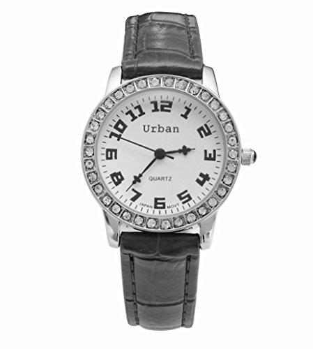 Staedtische Frauen s Silber Diamante Luenette schwarz PU Leder Armband Armbanduhr Analog Quarz zusaetzlichen Akku