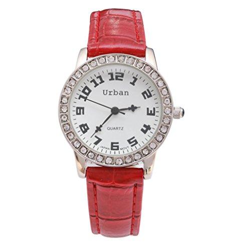 Staedtische Frauen s Silber Diamante Luenette rot PU Leder Armband Armbanduhr Analog Quarz zusaetzlichen Akku