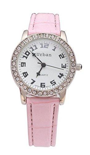Staedtische Frauen s Silber Diamante Luenette Rosa PU Leder Armband Armbanduhr Analog Quarz zusaetzlichen Akku