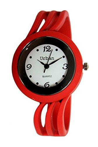 Staedtischen Rot Damen Armband Armreif Matt Finish Watch einzigartigen Look schnellen Lieferung
