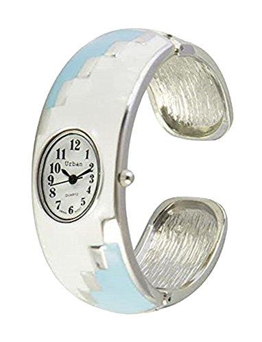 Staedtischen weisse Himmel blau Damen Armband Armreif Metall Uhr einzigartigen Look