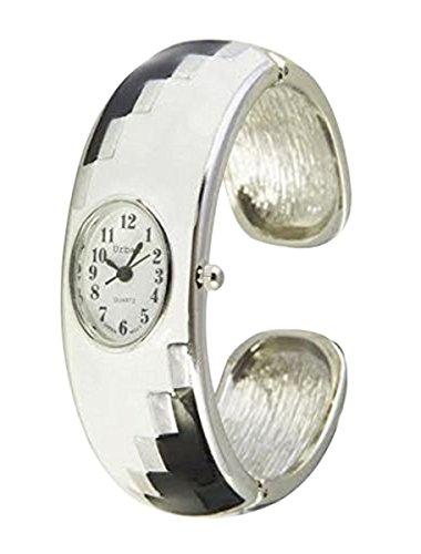 Staedtischen weiss und schwarz Damen Armband Armreif Metall Uhr einzigartigen Look