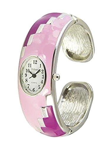 Staedtischen Rosa shocking rosa Damen Armband Armreif Metall Uhr einzigartigen Look