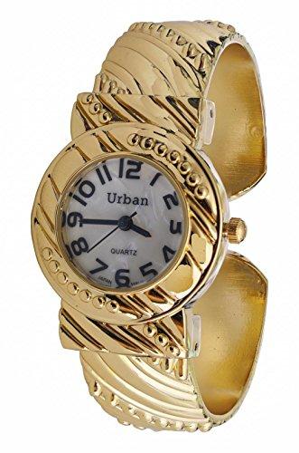 Staedtischen Gold vergoldet Damen Armband Armreif Uhr einzigartige Vintage entwickelt Strap Analog Quarz zusaetzlichen Akku