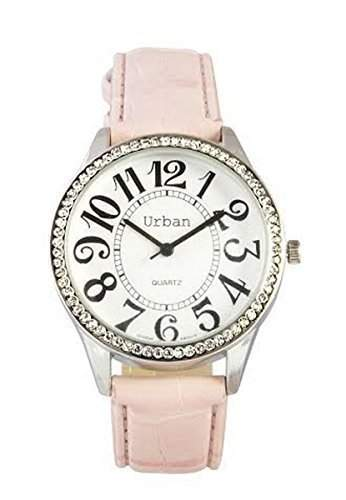 neu damen Rosa PU Leder Uhrenarmband Rund Diamantée Ziffernblatt Japanische Bewegung Analog Armbanduhr