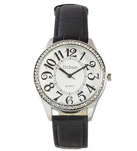 Damen Analoge Armbanduhr mit schwarzem Band aus PU-Leder und rundem Ziffernblatt mit Diamanten japanisches Uhrwerk