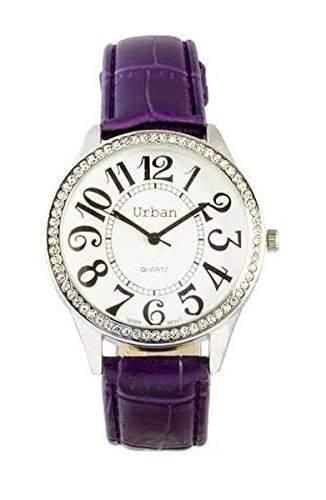 NEU Damen Lila PU-Leder Uhrenarmband Rund Diamantée Ziffernblatt Japanische Bewegung Analog Armbanduhr