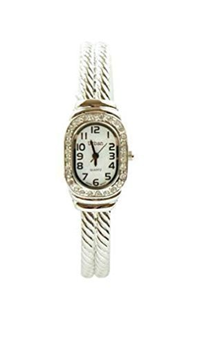 Urban Versilbert Damen Strass Thin Armband Armreif Armbanduhr Vintage Stil Mit Eine Extra Batterie Akku