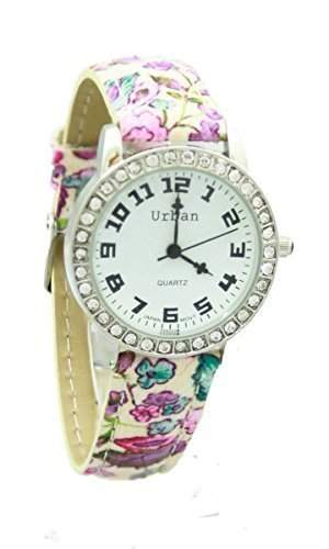 Urban - Neue Damen Rosa Blumen Muster PU Leder Armband Analog Versilberte Armbanduhr Mit Extra Batterie