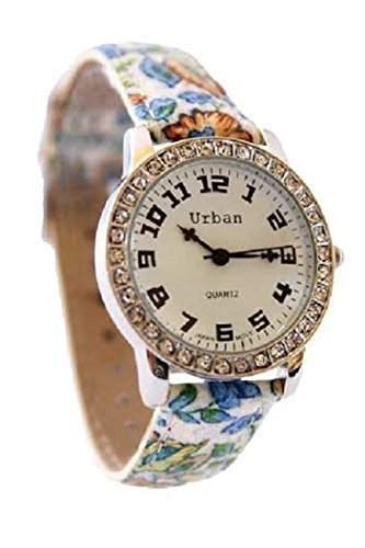 Damen Armbanduhr Blaues Blumenmuster PU Lederband Analoge Uhr Vergoldet